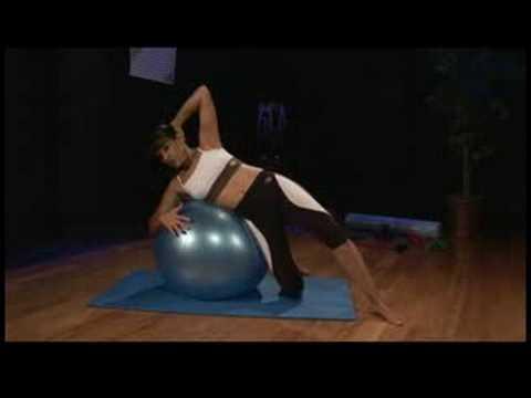 Duruş Egzersizleri: Duruş Egzersizleri: Dirsek Dışarı Ve Fitness Topu İle Diz Çökmüş Yan Crunch