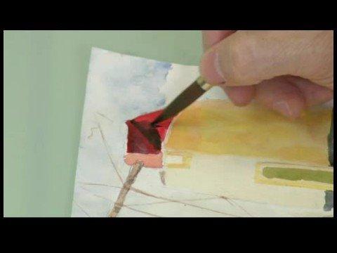 Suluboya Bir Yel Değirmeni Resim : Suluboya Resim Yel Değirmeni Gölgeler
