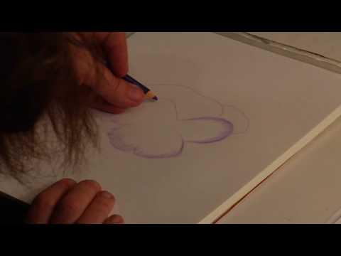 Renkli Kalemler Bir Hercai Menekşe Nasıl Çizmek İçin Çizim Dersleri :