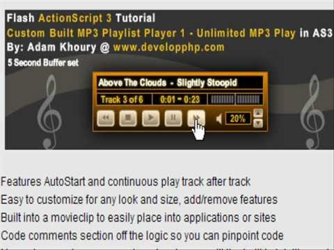 Flash As3 Mp3 Müzik Çalar Öğretici 1.0 Cs3 + Cs4 İçin Sınırsız Mp3 Oynamak