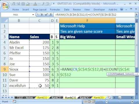 Excel Büyü Hüner 337: Rank İşlev 10 Örnekler
