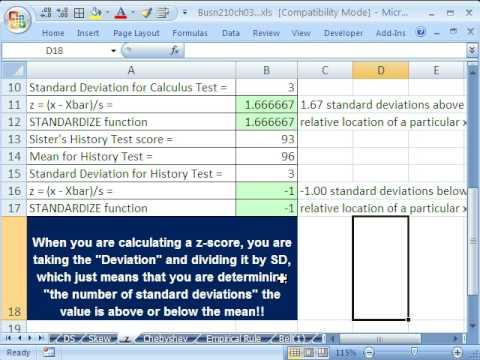 Excel Ve İstatistik 45: Z-Score (# Standart Sapma Anlamına Gelen)