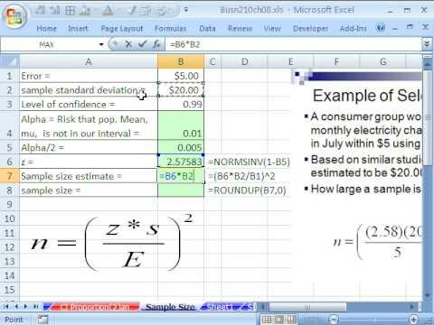 Excel İstatistik 87: Örnek Boyutu İçin Güven Aralıkları