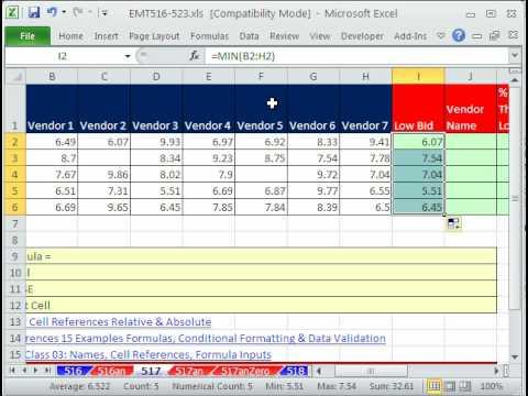 Excel Sihir Numarası 517: Satıcı Adı Düşük Teklif Verilmesi Ve % İçin Sonraki En Düşük Teklif Formülü Daha Ucuz