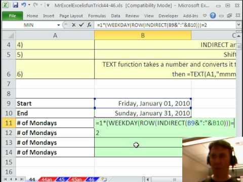 Bay Excel Ve Excelisfun Hile 44: Pazartesi 2 Tarihleri Haftanın Günü Veya Metin Arasında Saymak?
