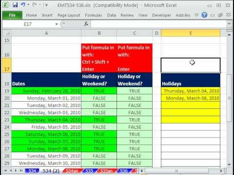 Excel Sihir Numarası 534: Hafta Sonları Ve Tatil İçin Koşullu Biçimlendirme