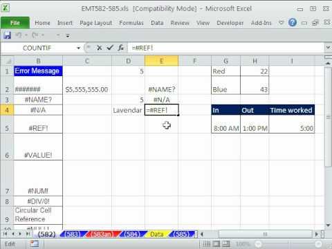 Excel Sihir Numarası 582: Hataları 9 Türleri - Ne Demek - Excel Nasıl Onları Düzeltmek İçin