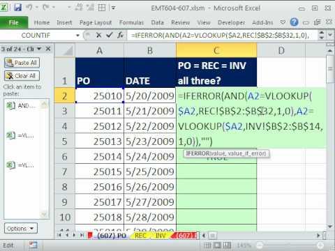 Excel Sihir Numarası 607: 3 Listelerini Maç: Muhasebe Belgeleri Po, Alma Ve Fatura Eşleştirme