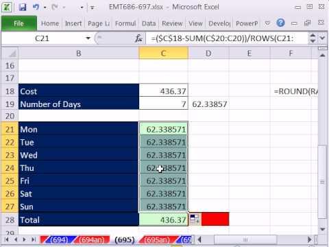 Excel Sihir Numarası 695: Toplam Maliyeti İlave Pennies De Dahil Olmak Üzere Kategoriler Arasında Tahsis.