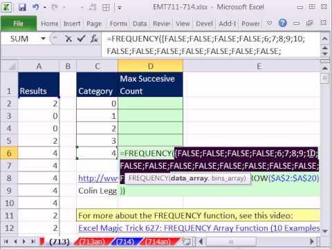 Excel Büyü Hüner 713: Sayısı Max Sayı İçinde Art Arda Sütun Frekans Fonksiyonu Büyü!