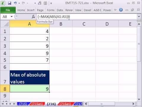 Excel Büyü Hüner 716: Max, Mutlak Değerler Max Ve Abs İşlevleri Dizi Formülü