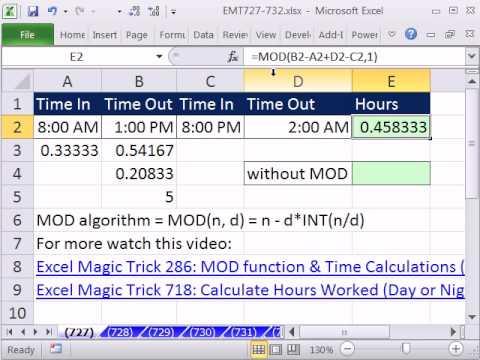 Excel Sihir Numarası 727: Çalışılan Saat Gece Ya Da Gündüz Vardiyası Öğle Yemeği İçin Mola Hesaplamak