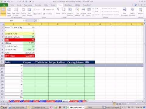 Excel Finans Sınıfını 52: Bond İndirimi Veya Prim Amortisman Tablo.