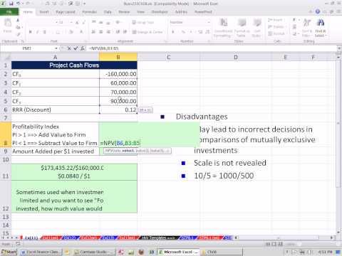 Excel Finans Sınıfını 77: Yatırım Kriterleri: Karlılık Endeksi