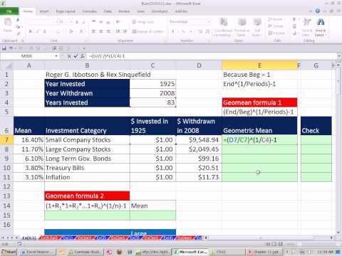 Excel Ekonomi Sınıf Geometrik Ortalamasını Hesaplamak İçin 103: 2 Yol