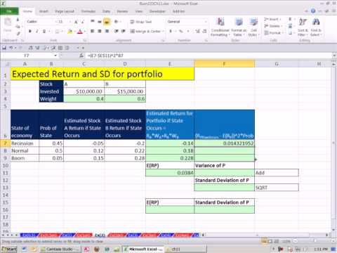 Excel Finans Sınıfını 105: Beklenen Getiri Ve Standart Sapma İçin Geleceği Tahmin Etme Evrak Çantası--
