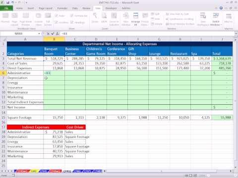 Excel Sihir Numarası 745: Bölüm Net Gelir Hesaplama Hesaplamak İçin Dolaylı Giderleri Tahsis Etme