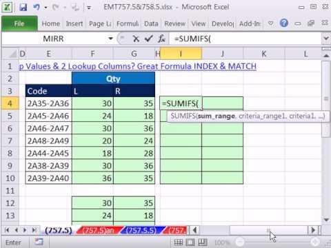 Excel Sihir Numarası 757.5: İki Arama Sütunları Veya Toplamı İki Ölçüt İle?