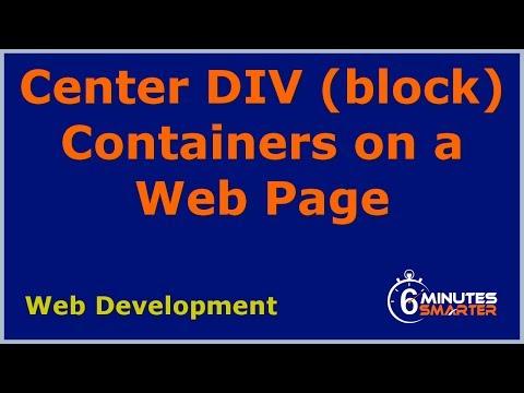 Merkezi Dıv Konteyner Bir Web Sayfasında