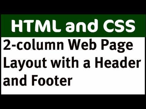 2 Sütunlu Web Sayfa Düzeni - Bölüm 2 (Üstbilgi Ve Altbilgi İle)