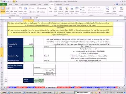 Excel 2010 İstatistik #27: Excel 2010 İşlevleri Yüzdelik, Dörttebirlik Ve Sırası