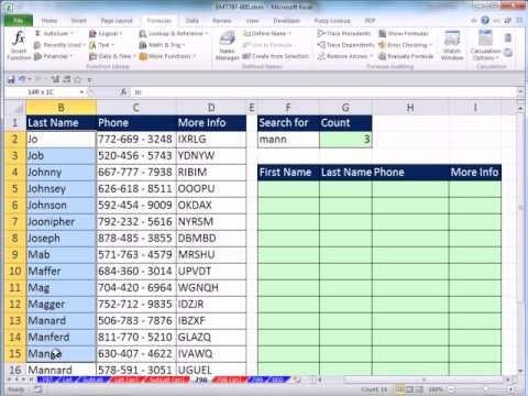 Excel 2010 Büyü Hüner 798: Birden Çok E-Posta Kayıtları Döndürmek İçin Kısmi Metin Arama Formülü