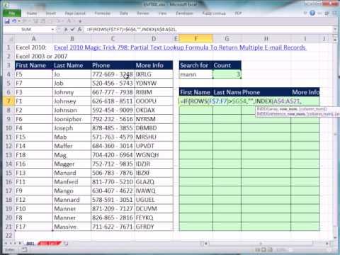 Excel 2007 Veya 2003 Sihir Numarası 801: Birden Çok Kayıt Döndürmek İçin Kısmi Metin Arama Formülü