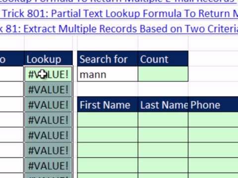 Excel Sihir Numarası 802: Birden Çok Kayıt Döndürmek İçin Kısmi Metin Arama Formülü Yapmak Yardımcı Sütun