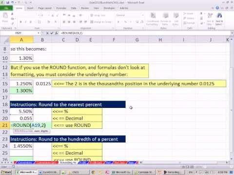 Excel 2010 İş Matematik 26,5: Yuvarlama Yüzdeleri