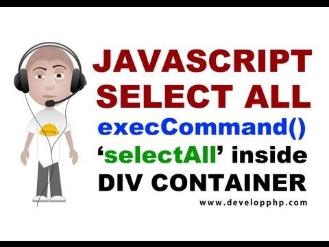 Div Seçin Tüm Metin Javascript Programlama Eğitimi Execcommand Selectall