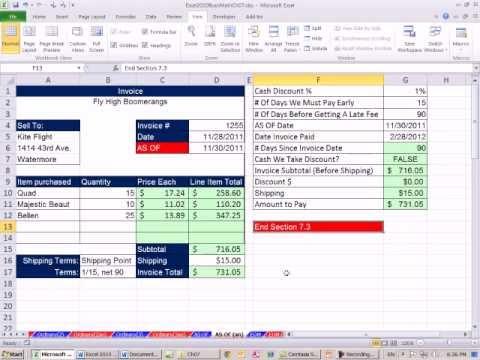 Excel 2010 İş Matematik 64: Nakit İskontoları Sıradan Tanışma Yöntemini Kullanarak Hesaplamak