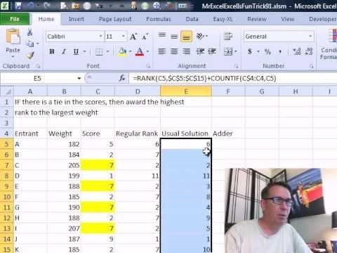 Bay Excel Ve Excelisfun Hile 91: Sırası Sonuçlar, Ama Eğer Kravat Ödül En Yüksek Sırası İçin En Büyük Ağırlık