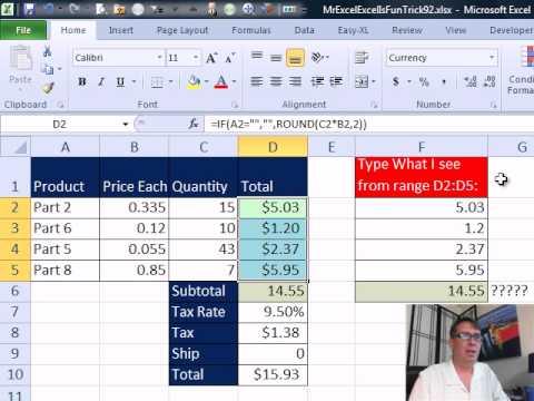 Bay Excel Ve Excelisfun Numara 92: Yuvarlak Fatura: Yuvarlak Veya Topla - Yuvarlak