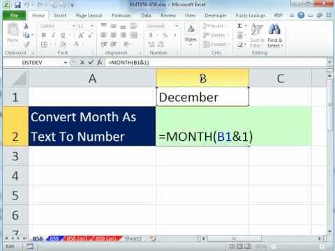 Excel Sihir Numarası 858: Dönüştürmek Metin Olarak Ay Sayıya Ocak = 1, Şubat = 2, Vs.