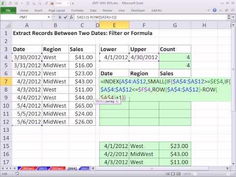 Excel Sihir Numarası 894: İki Tarih Arasındaki Kayıtları Ayıklamak: Filtre Veya Formül