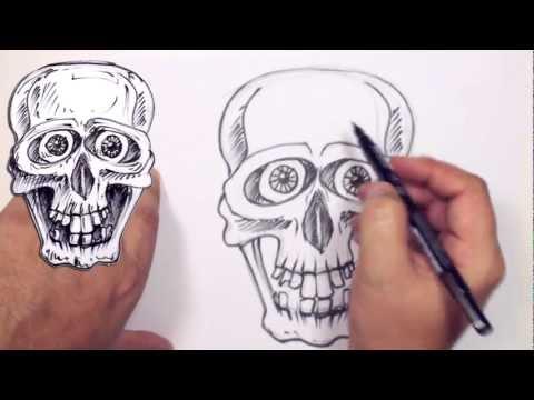 Nasıl Bir Çizgi Film Kafatası - Kafatası Çizim Ders Beraberlik İçin