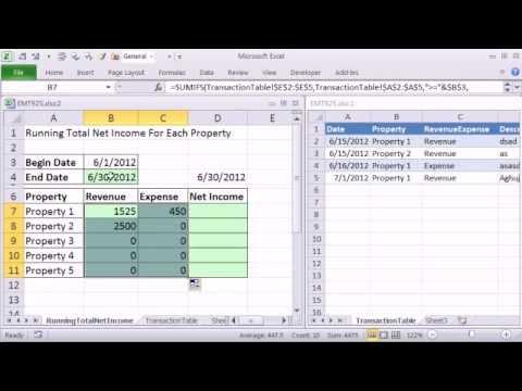 Excel Sihir Numarası 925: Sumıfs İşlevi Ve Tablo Özelliğini Çalışan Toplam Net Gelir Formül Oluşturmak İçin