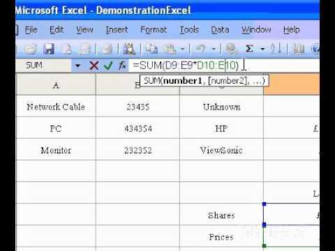 Microsoft Office Excel 2003 Bir Dizi Formülü Düzenle