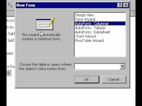 Microsoft Office 2000 Oluşturma Access Form Sihirbazı'nı Kullanarak Formu