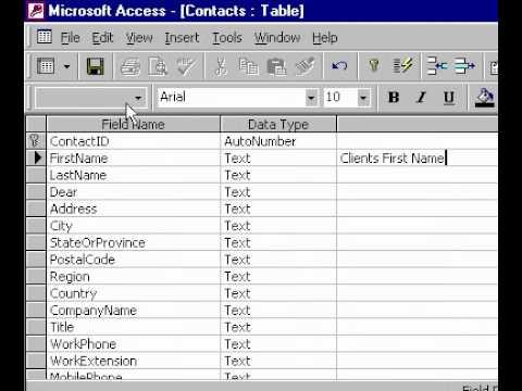 Microsoft Office Access 2000 Ekleyerek Bir Alan Açıklama