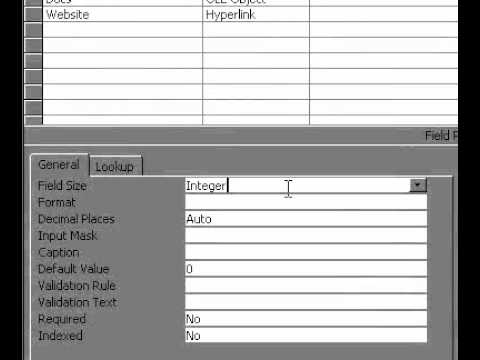 Microsoft Office Access 2000 Metin Veya Sayı Alanının Alan Boyutunu Değiştirme