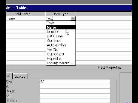 Microsoft Office Access 2000 Oluşturma Tasarım Görünümünde Bir Tablo