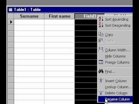 Microsoft Office Access 2000 Oluşturma Veri Sayfası Görünümünde Bir Tablo
