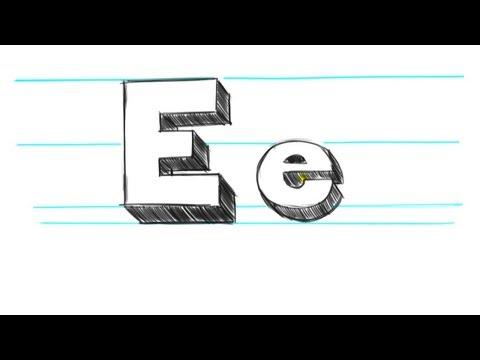 Nasıl 3D Mektuplar E - Draw Büyük E Ve Küçük Harf E 90 Saniye İçinde