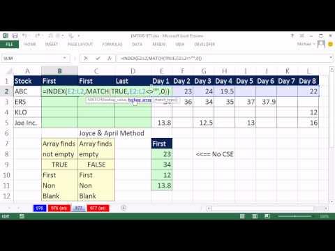 Excel Sihir Numarası 977: A İlk Boş Olmayan Hücre Aralığı Arama, Arama Numarasını Bir Aralıktaki Son