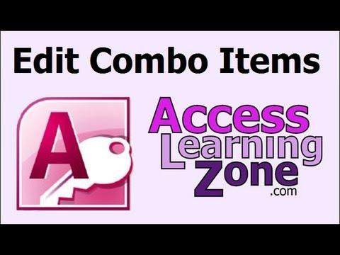 Microsoft Access Öğretici Birleşik Giriş Kutusunu Düzenle Liste Öğeleri Öğe Ekle