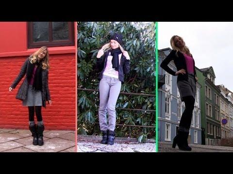Elbise Giyim Kış İçin! İş Resmi, Rahat Sevimli Kış Giysileri (Ootd). Bergen, Norveç'te.