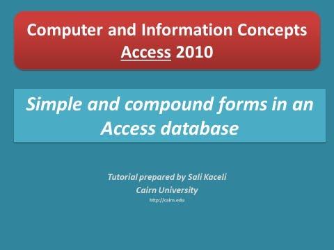 9. Access 2010: Basit Ve Bileşik Formları