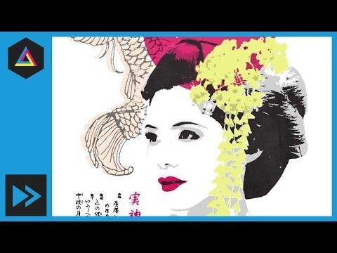Japon Geyşa Hız Demo |  Ekran Yazdırma Etkisi |  Photoshop, Illustrator Eğitimi
