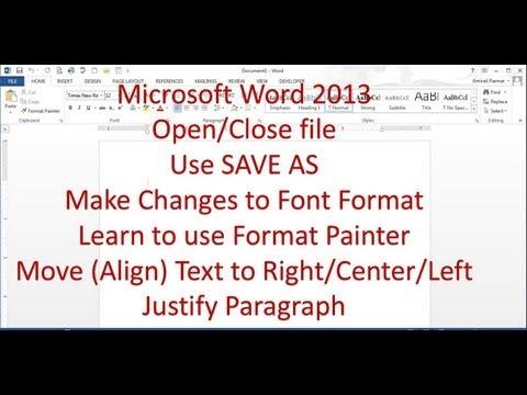 Microsoct Word 2013 Pt 2 (Biçimlendirme, Biçim Boyacısı, Hizalama)